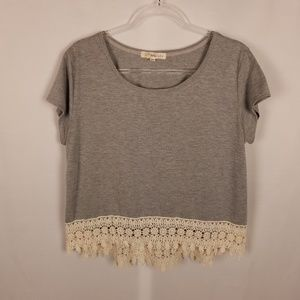 Rewind grey short sleeve top, cream lace bottom XL